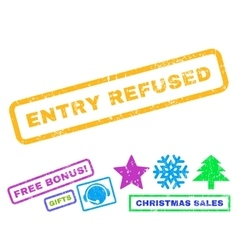 Entry refused rubber stamp vector