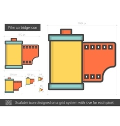 Film cartridge line icon vector