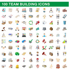 100 team building icons set cartoon style vector