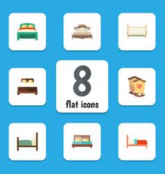 Flat bedroom set of bearings crib hostel and vector