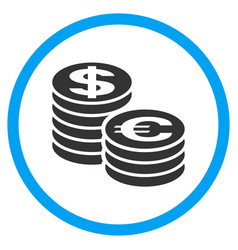 Euro and dollar coin columns rounded icon vector