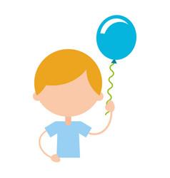 Cute boy with balloon air character vector