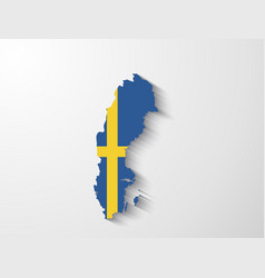 Sweden map with shadow effect vector