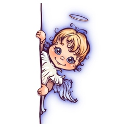 Cute angel with panel for text vector