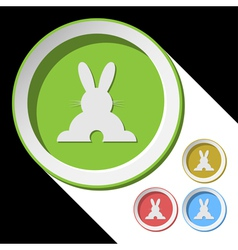 Color icons with back easter bunny vector