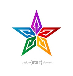 Colorful star with arrows abstract design element vector