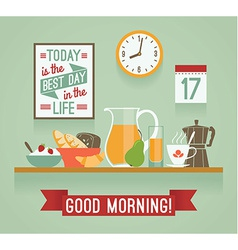 modern flat design of breakfast Good mornin vector image
