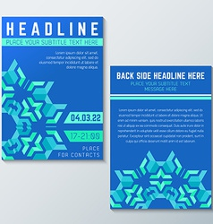 Blue green abstract flyer poster template vector