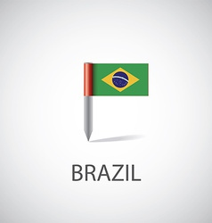 Brazil flag pin vector