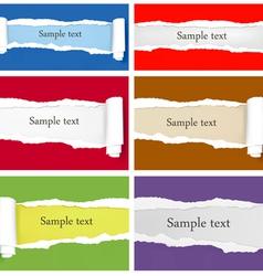 Set of ripped colorful papers vector