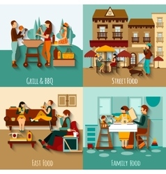 People Eating Out vector image