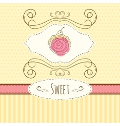 Swiss roll  hand drawn card vector