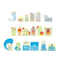 Disaster icon collection destruction of buildings vector