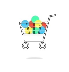 Outline shopping cart with colored circles and vector