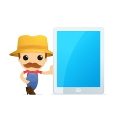 Man leaning on tablet vector image