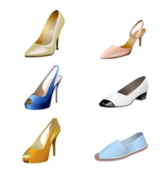 Fashionable womens shoes are on white background vector