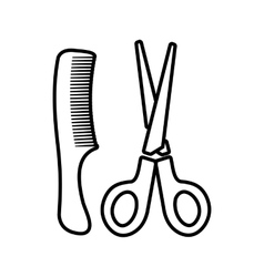 Scissors and comb icon outline style vector