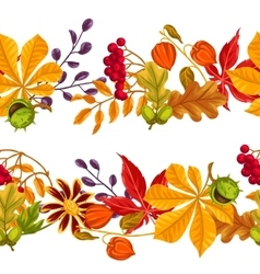 Seamless borders with autumn leaves and plants vector