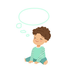 Adorable little boy dreaming with a thought bubble vector