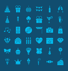 Birthday glyphs website icons vector