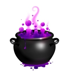 Black cauldron with purple witches magic vector