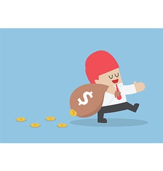 Businessman losing his money from leak bag vector