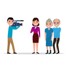 cartoon journalist interviewing elderly vector image vector image