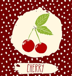Cherry hand drawn sketched fruit with leaf on vector image