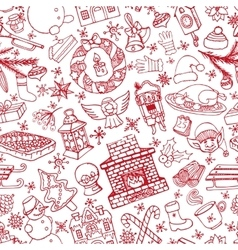 Christmas doodle symbols seamless patternlinear vector