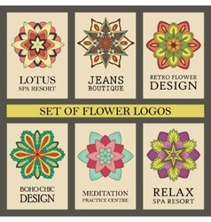 Colorful Flowers Logos Set vector image