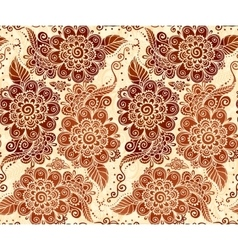 Floral seamless pattern in Indian mehndi style vector image