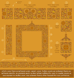 Flower decorative ornaments building kit - ochre vector