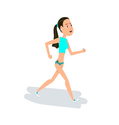 Girl jogging the young girl engaged in fitness vector