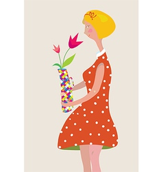Girl with the vase of flowers retro vector image vector image
