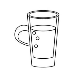 Glass cup juicy refreshment thin line vector