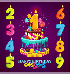Happy birthday cake and numbers vector