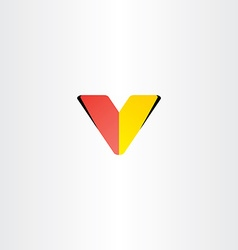 logo letter v red yellow symbol vector image