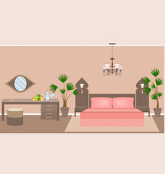 Luxury asian bedroom interior vector