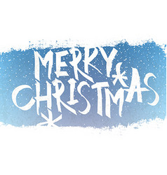 Merry Christmas Lettering with blue sky and vector image vector image