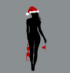 naked santa woman silhouette holding her lingerie vector image vector image