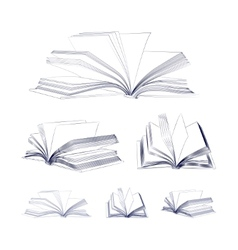 Open book sketch set vector image vector image
