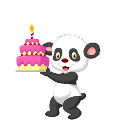 Panda cartoon with birthday cake vector image