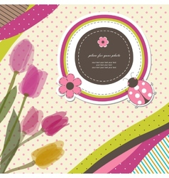 Pink romantic baby card vector