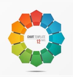 polygonal circle chart infographic template with vector image vector image