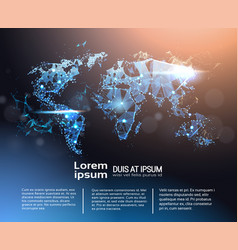 Polygonal world map infographic banner with copy vector