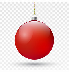 realistic red christmas ball xmas tree vector image vector image