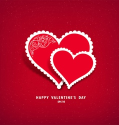 Red heart paper valentine vector image vector image