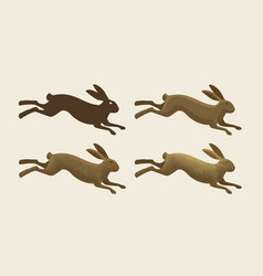 running hare set of icons rabbit bunny symbol vector image