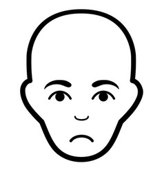 sad bald head black icon vector image