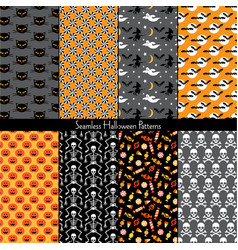 Seamless halloween patterns vector